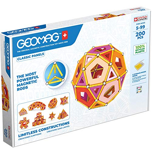 GEOMAG Magnetic Toys   Magnets for Kids   200 piece STEM-endorsed Educational Building Set made from 100% Recycled Plastic   Storage box   Age 5+