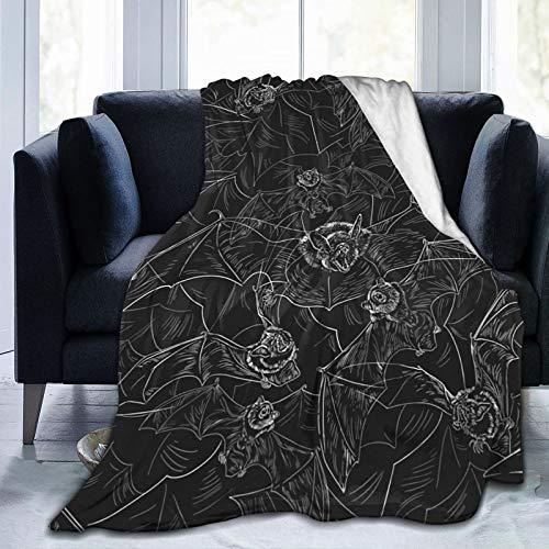 Bat Attack - Manta de forro polar para cama y pícnic, color gris