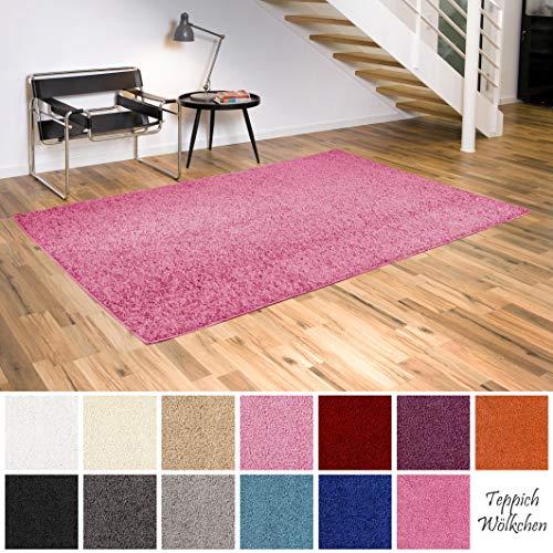 Teppich Wölkchen Shaggy-Teppich | Flauschige Hochflor Teppiche für Wohnzimmer Küche Flur Schlafzimmer oder Kinderzimmer | Einfarbig, schadstoffgeprüft, allergikergeeignet (Rosa, 40 x 60 cm)
