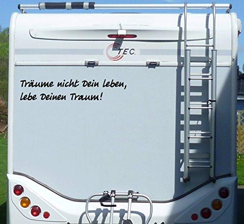 WERBEPUNKT. Aufkleber Träume Nicht Dein Leben Wohnmobil Wohnwagen Camping Camper Caravan - 100 cm/Schwarz