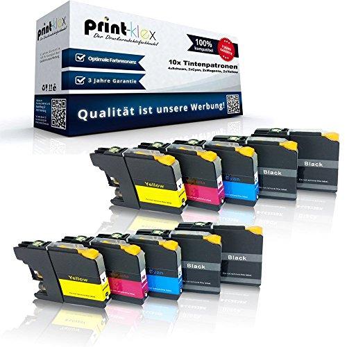 10x kompatible Tintenpatronen für Brother LC121 LC123 MFC J245 MFC J4310 DW MFC J4410 DW MFC J4510 DW MFC J4610 DW MFC J4710 DW MFC J6520 DW MFC J6720 DW - Sparpack - Eco Office Serie
