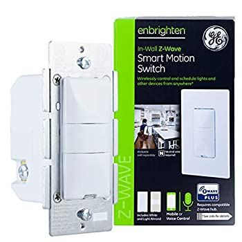 GE Enbrighten Z-Wave Plus Smart Motion Sensor Light Switch On/Off Vacancy / Occupancy Sensor Includes White and Lt Almond Zwave Hub Required Works with SmartThings Wink and Alexa 26931