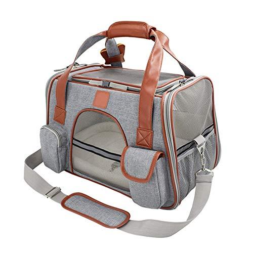 WWWL Mochila para mascotas, transportín para perros, asiento de coche, mochila portátil, transpirable, jaula para gatos, bolsa de viaje para perros pequeños, aprobada en avión, color gris claro