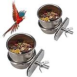 Comedero Jaula de Pájaros, 2 Piezas Cuenco de Comida para Pájaros Plato de Alimentación de Pájaros de Acero Inoxidable, para Alimentador de Platos de Comida de Agua para Loros de Aves(4,4cm/5,5cm)