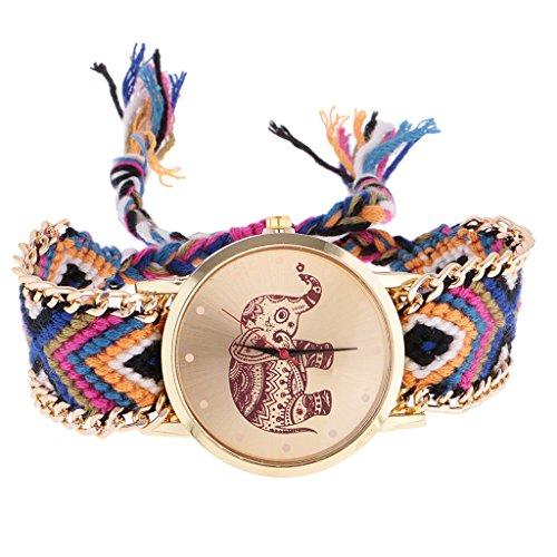 milageto Reloj De Pulsera De Cuarzo De Pulsera De Banda Trenzada Tejida De Mujer étnica - Oro 8