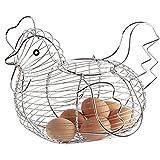 Hemore Chicken Design Metal Wire Egg Basket Practical Woven Egg Storage Holder for Kitchen Dining Room Silver