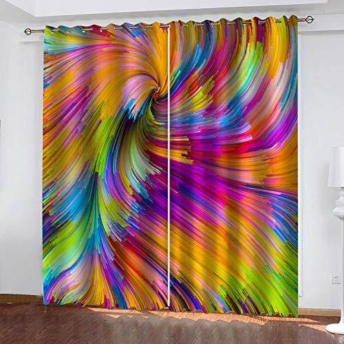 WLHRJ Cortina Opaca en Cocina el Salon dormitorios habitación Infantil 3D Impresión Digital Ojales Cortinas termica - 160x115 cm - Patrón de Estampado de Arco Iris de Siete Colores