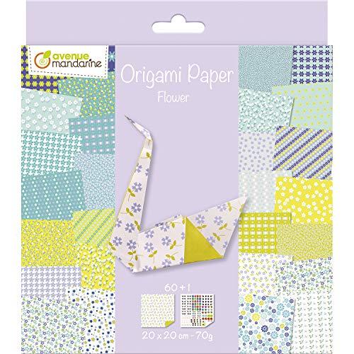 Avenue Mandarine 52507O Origami color Papier (quadratisch, 20 x 20 cm, mit Faltanleitung, 60 verschiedenen Blätter und 1 Blatt mit Augenset, Blume)