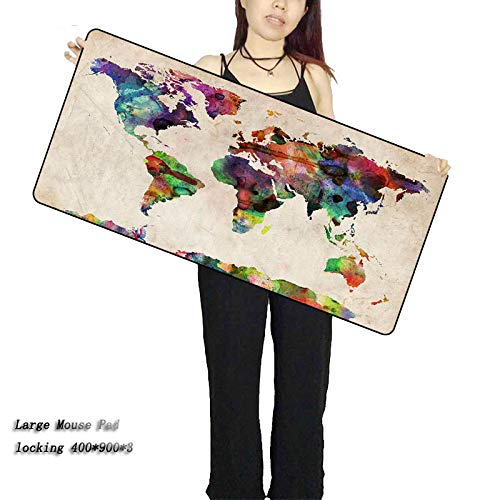 WHFDSBD Purple Blue Space Extra Large Mouse Pad Gaming Mousepad Anti-Slip Natural Rubber Gaming Mouse Mat with Locking Edge