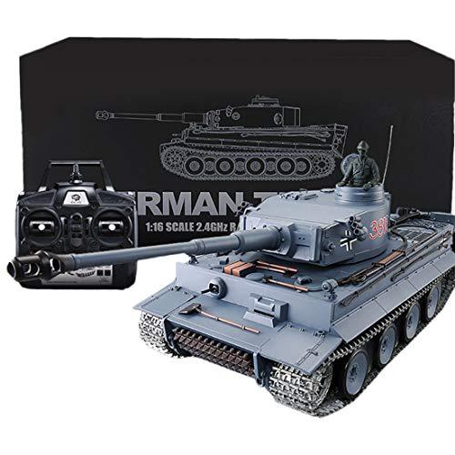 HYMAN Tiger Schwerer Panzer 1:16 2.4G Fernbedienung Technik Militär Panzer Modell mit Ton, Schießen und Rauch Auswirkungen - Metal Upgraded Edition