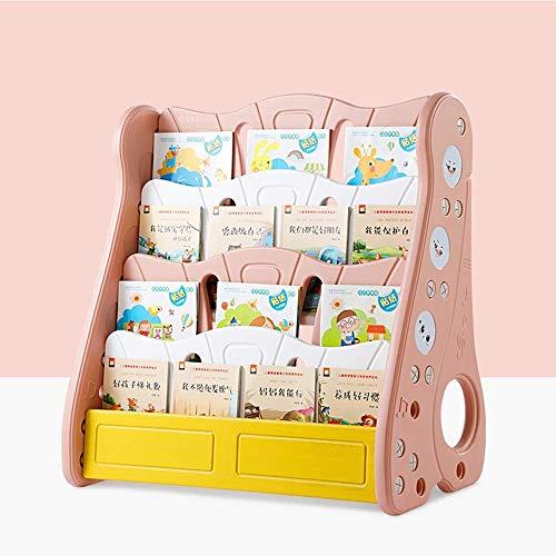 Estante de Almacenamiento 4-repisa de plástico Estantería de libros, estantería simple vertical en el suelo del bebé de los niños Libro de imágenes moderno stand estante del estante (Tamaño: 80 * 43 *