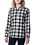 Women's Flannel Plaid Shirt Long Sleeve Tops Button Down Buffalo Blouse Cotton Jacket Classic Fit Tunic White