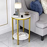 2-Tier Round Side End Table with White Marble Top,Small Bedside Table for Living Room or Bedroom,Gold