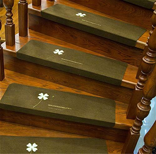 VOVEY 15 caminadores de escalera, 70 x 22 cm, alfombra luminosa antideslizante, cinta de correr autoadhesiva, alfombra de escalera lavable, fácil de instalar trébol de cuatro hojas 【café】