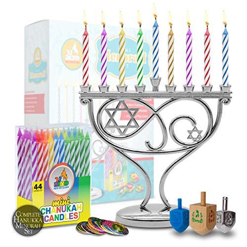 Ner Mitzvah Mini Menorah Set - Menorah, 44 Mini Candles, 3 Dreidels, Play Coins