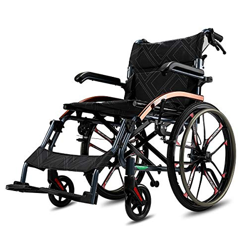 "Super-Light Magnesium Alloy Self-Propelled Transport Wheelchair with Dual Brake, 18"" Seat, 26lbs"