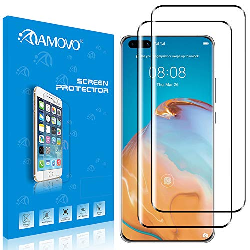 AMOVO [2Pack] Screen Protector for Huawei P40 Pro Tempered Glass [Case Friendly] 3D Full Coverage for Huawei P40 Pro Screen Protector Tempered Glass [High Sensitivity] HD 0.20mm Glass Protector for Huawei P40 Pro (P40 Pro, 2Pack)