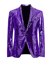 Purple/C Splendid Sequins Lapel Tuxedo Jacket