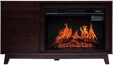 YLJYJ Calefacción de Chimenea Efecto de Llama 3D Realista 1400 W silencia la calefacción de la Estufa eléctrica Ventana Grande chimeneas Independientes de Madera Maciza