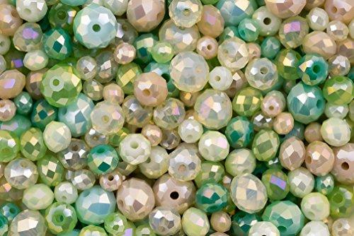 Green Mist: Kristallglas Green Rondell Perlen Set für Schmuckherstellung und Kunsthandwerk - 360 Stück