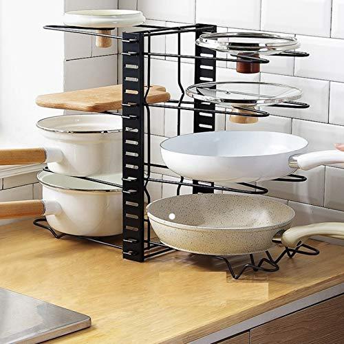 515dpf n12L - GFDFD Multi-funtion Pot Pan Lagerregal 8Tiers Pot Bratpfanne Deckel Lagerregal Organizer Küche Kochgeschirr Standhalter