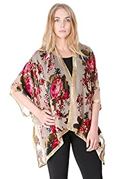 BYOS Boho Stylish Semi Sheer Mesh Open Front Burnout Floral & Paisley Print Velvet Kimono Cardigan Robe  Red Floral W/Golden Velvet Border