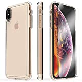 SaharaCase-Crystal Series Case with Tempered Glass Kit Shockproof Military Grade Drop Tested iPhone Xs MAX 6.5' (2018) Clear