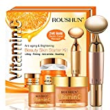 Organic Vitamin C Set Face Cream+Eye Cream with Electric Facial Massager The BEST Anti-wrinkle Cream For Skin & Face Professional Anti-Aging For Face/Neck/Eyes