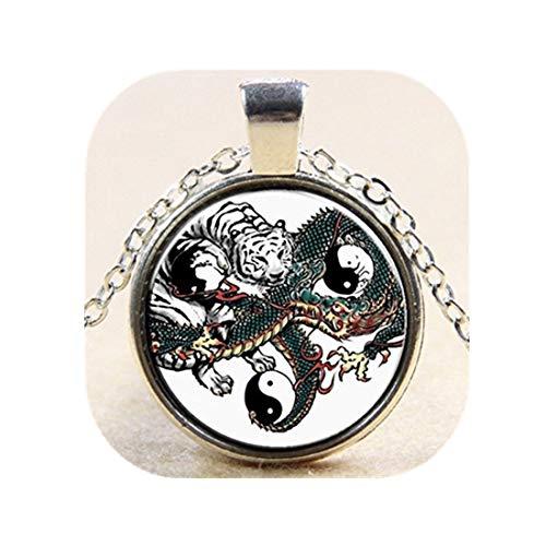 Yin-yang tijger draak hanger astrologie ketting dierenriem sieraden charme hanger voor hem of haar