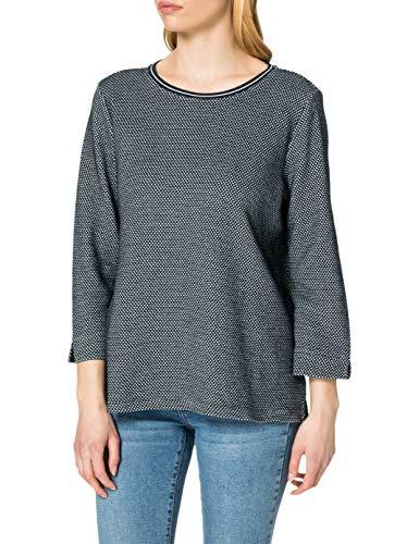 TOM TAILOR Damen 1024030 Crewneck Sweatshirt, Navy White Mini Structure, L