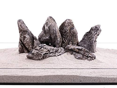 Aquarium Natursteine Mini Landschaft Seiryu Steine grau 20 Kg Gr.XL 2-3 Kg Nr.69 Dekoration Felsen Steinrückwand