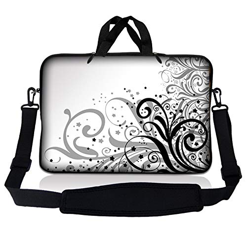 LSS 15.6 inch Laptop Sleeve Bag Compatible with Acer, Asus, Dell, HP, Sony, MacBook and more   Carrying Case Pouch w/ Handle & Adjustable Shoulder Strap,Grey Swirl Black & White Floral