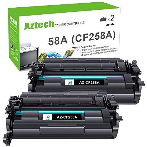 Aztech Compatible Toner Cartridge Replacement for HP 58A CF258A 58X CF258X for HP Laserjet Pro M404dn M404n M404dw MFP M428fdw M428dw M428fdn Toner Printer M404 M428 (Black 2-Pack)