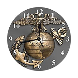 AOYEGO Globe and Anchor Wall Clock Insignia Eagle Marine Honor Emblem Brass Map Golden World Wings Round Clocks Wall Decorative Silent No Ticking 10 inch 25cm PVC Rustic Modern for Bedroom