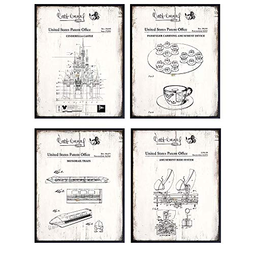 Disney Rides Sign Patent Art Prints - Vintage Wall Art Poster Set - Rustic Home Decor for Boys, Girls, Teens, Kids Room - Gift for Mickey Mouse, Disney World, Disneyland Fan, 8x10 Photo