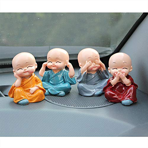 C-NineLife 4 Pcs/Set Cute Monk Figurines Resin Statue, Baby Buddha Doll Creative Crafts Ornament, Wealth Lucky Decoration Toy for Home, Office, Car Interior Display