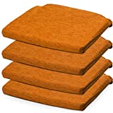 BCASE, Packung mit 4 Fantasy Foam Sitz- und Stuhlkissen, 40 x 40 cm, abnehmbar mit Reißverschluss, komfortabel, langlebig, für Küche, Schlafzimmer, Wohnzimmer, Garten, usw. Orange