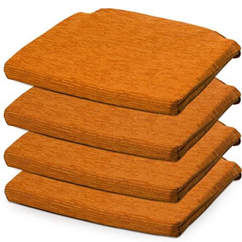 BCASE, Pack de 4 Cojines de Asiento y Silla Espuma Fantasy, 40x40cm, Desenfundable con Cremallera, Cómodos, Resistentes, Fácil de Limpiar, para Cocina, Cuarto, Etc. Naranja
