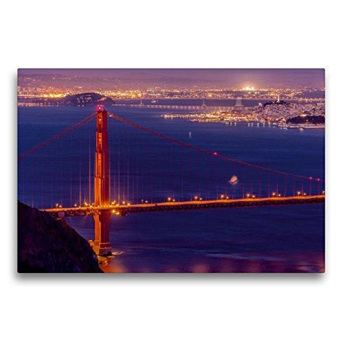 CALVENDO Premium Textil-Leinwand 75 x 50 cm Quer-Format Golden Gate Bridge - San Francisco, Leinwanddruck von TomKli