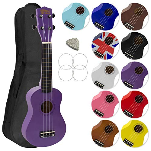 Mad About SU8 Soprano Ukulele in Purple with FREE Gig Bag, Pick, and Spare...