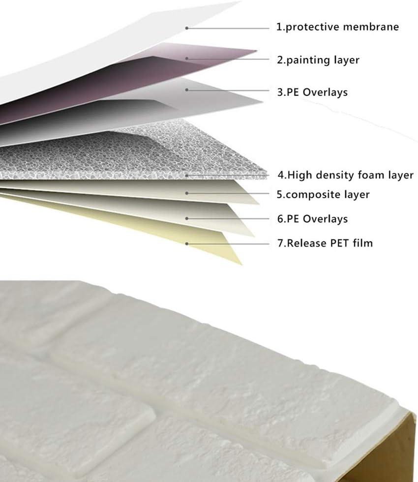 repique extra/íble y pegatina de pared de espuma PE para sala de estar Papel tapiz de Mosaico 3D 1.8 m/² Blancas Mosaico 20 Piezas