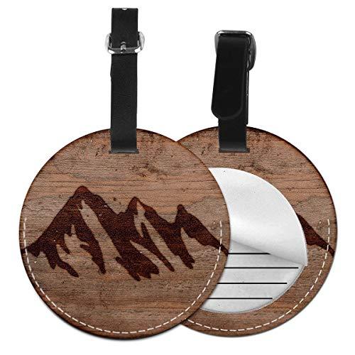 Etichette per Bagagli, Viaggio Bagagli Tag in Pelle PU Con Copertina Posteriore per La Borsa Da Viaggio, Uomini di campeggio rustici di struttura dell'ustione dell'ustione delle montagne