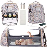 3 in 1 Diaper Bag Backpack with Changing Station, Foldable Baby Travel Bassinet Bed, Portable Crib, Large Capacity, Waterproof, USB Charging Port, Camouflage