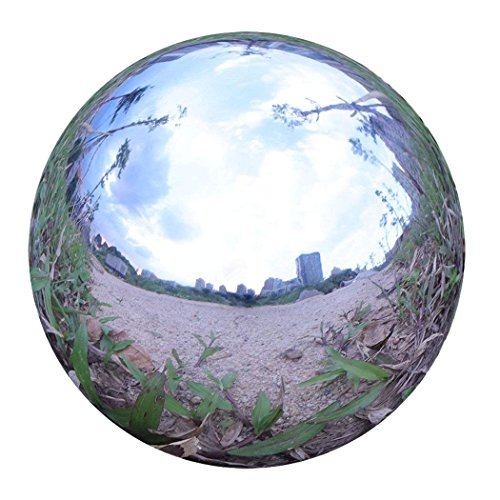 Durable Stainless Steel Gazing Ball, Hollow Ball Mirror Globe Polished Shiny Sphere for Home Garden (10 Inch)