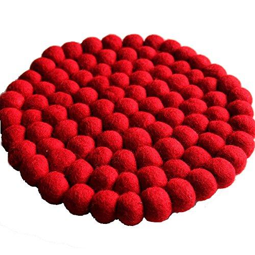 Maharanis Filz Topf Untersetzer rot 22 cm handgefertigt aus reiner Wolle