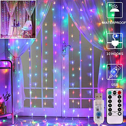 LED Curtain Lights, Unihoh Window Curtain Fairy Twinkle Lights 3mx3m 300leds USB Operated 8 Modes Icicle LED String Lights with Remote & Timer for Indoor Xmas Party Home Garden Decoration(Multicolor)
