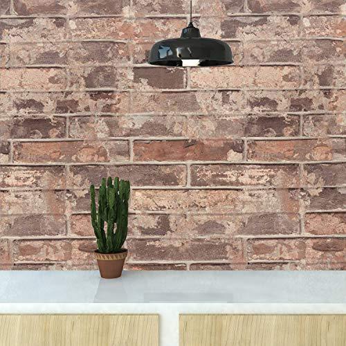 Wandtapete Ziegelstein 3D Tapete selbstklebend Steintapete Wandaufkleber Steinoptik Dekorfolie Backstein Industrial Klebefolie für Bar Restaurant Büro 0.61 * 5M (Farbe B)