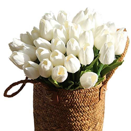 Mynse - Tulipanes artificiales de una docena de flores artificiales de poliuretano para boda