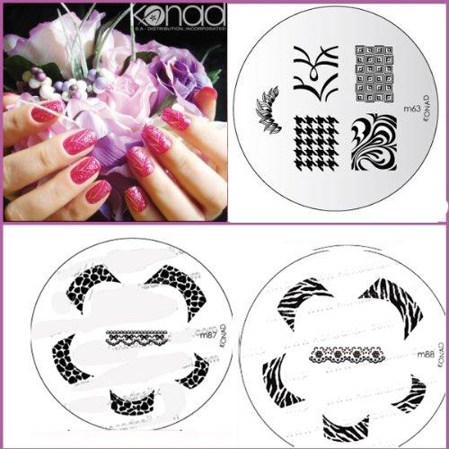 Bundle 5 pièces : Konad Plaque de nouvelles images M87, M88, M63 + Stamper & Scraper + A-viva Eco Lime à ongles
