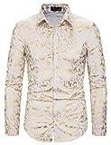 WHATLEES Camisa de manga larga para hombre, diseño barroco, color dorado 2010191xwhite XXL